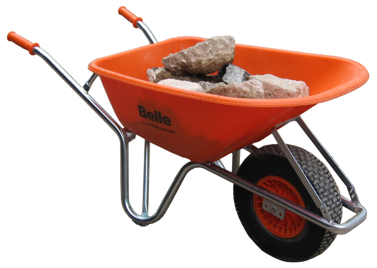 wheel barrow hauling landscaping materials